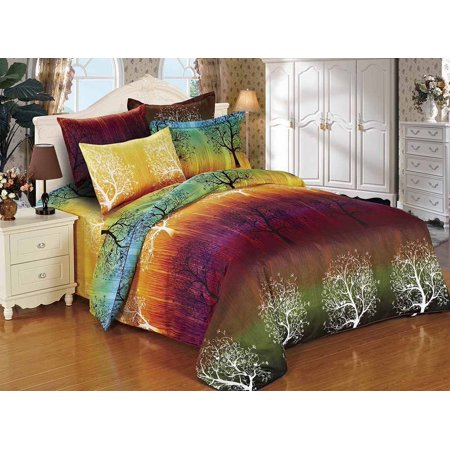 Swanson Beddings Rainbow Tree 3pc Duvet Bedding Set: Duvet Cover and Two Pillowcases (Queen) ()