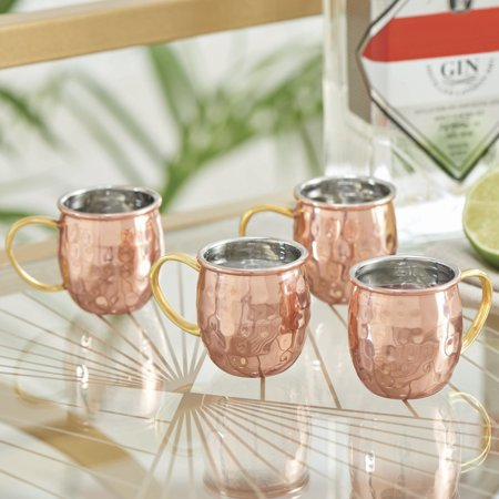 Better Homes & Gardens 2 Ounce Holiday Edition Stainless Steel Cooper Hammed Moscow Mule Shot Mugs, 4 Count ()