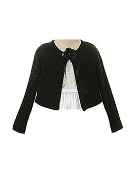 Plain Cardigan Sweater Long Sleeves Match Flowers Girls Dresses Winter Wedding Black 2-12