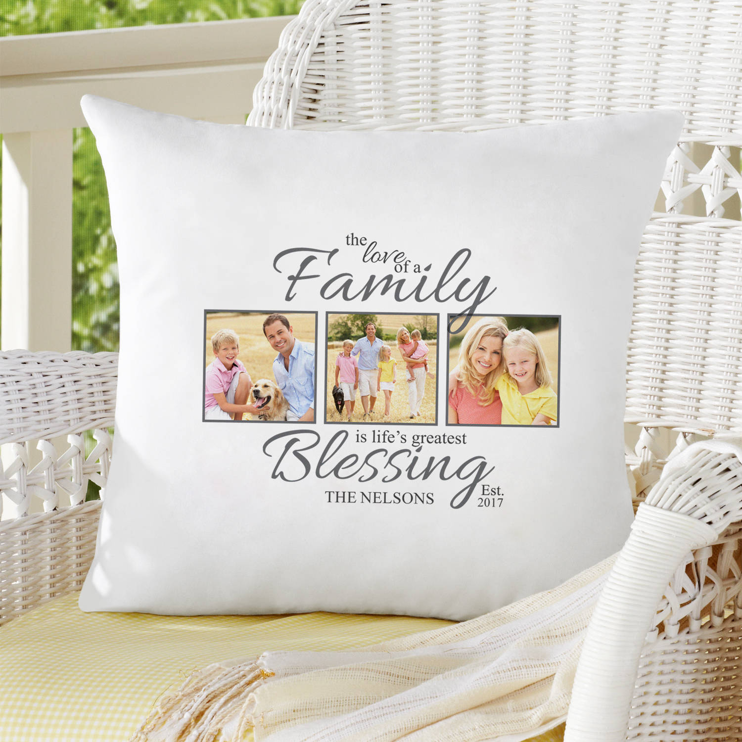 Personalized The Love of a Family Photo Throw Pillow