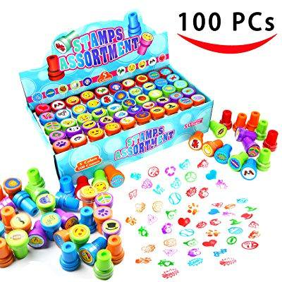 Craft Ideas For Halloween Party At School (100 pieces assorted stamps for kids self-ink stamps (50 different designs, emoji stampers, dinosaur stampers, zoo safari stampers) for party favor, school prizes, teacher)