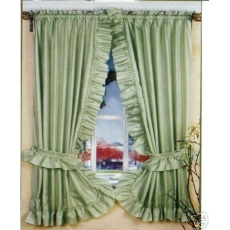 Ruffled Dobby Dot Window Curtain and Tiebacks 64