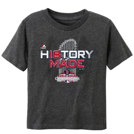 Boston Red Sox Majestic Toddler 2018 World Series Champions Locker Room T-Shirt - Heather Charcoal
