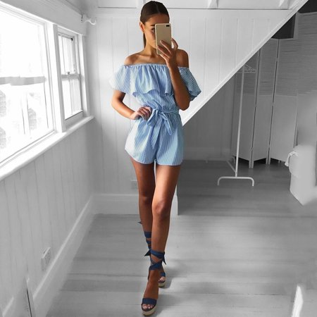 Women Striped Playsuit Off Shoulder Ruffle Neck High Waist Belt Casual Holiday Beach Wear - image 7 de 7