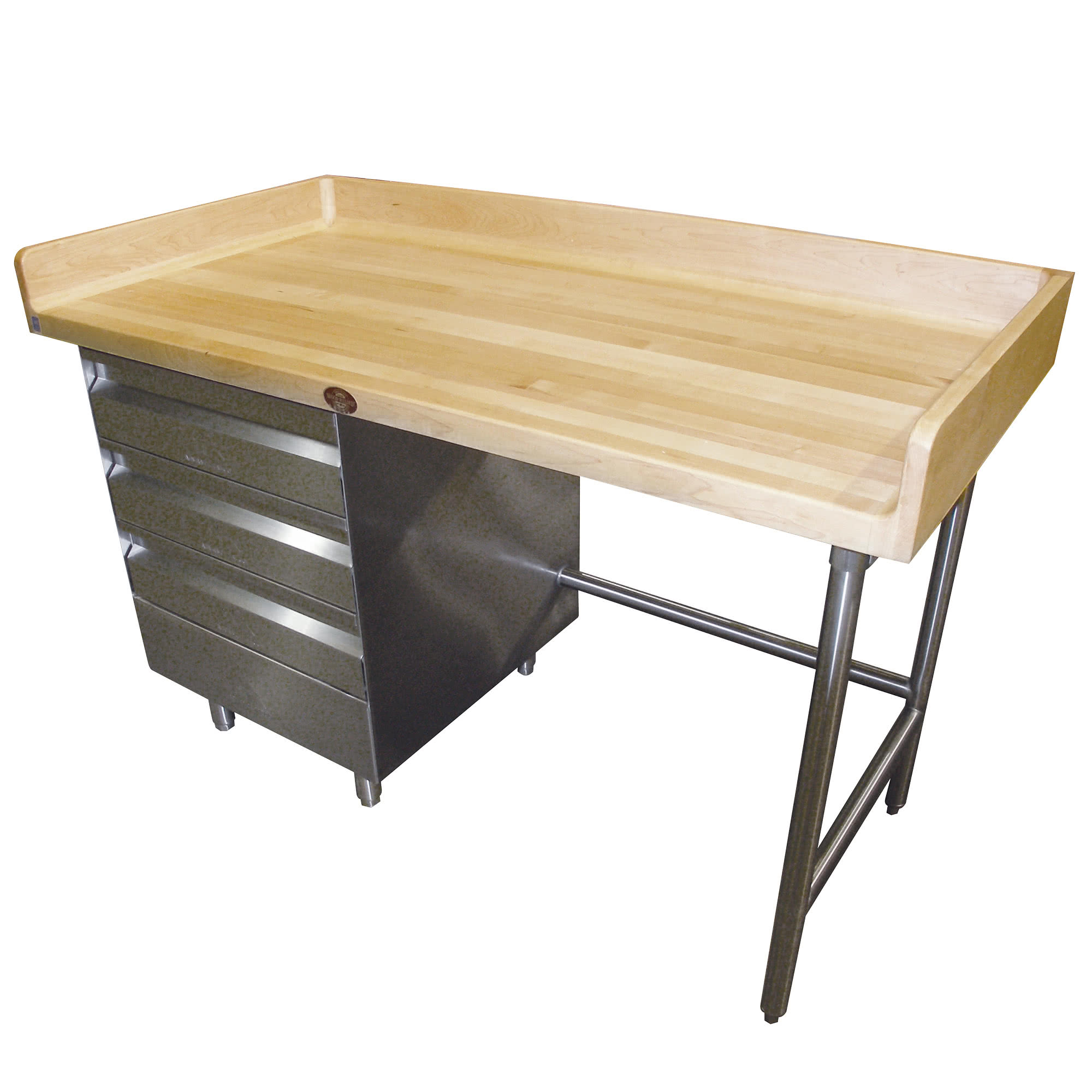 Bst 365 Wood Top Baker S Table With Stainless Steel Base And Drawers 36