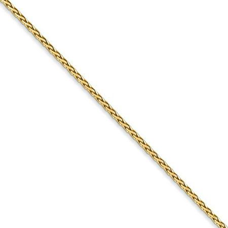 1.5mm 14k Yellow Gold Diamond Cut Round Wheat Chain Necklace, 20 Inch (Gold Diamond Cut Wheat Chain)