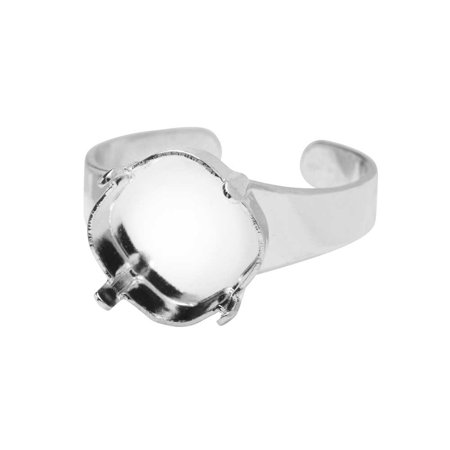 Gita Jewelry Stone Setting for Swarovski Crystal, Tilted Square Ring Base for 12mm Cushion, Rhodium Plated