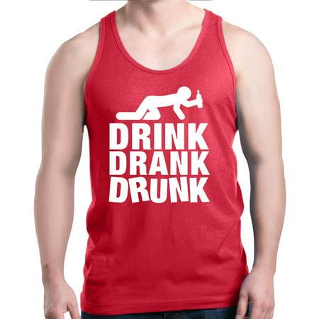 Shop4Ever Men's Drink Drank Drunk Funny Drinking Graphic Tank (Drunk Drinking T-shirt)