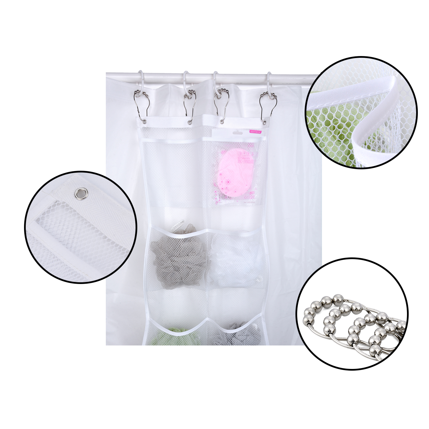 Shower Caddy, Coxeer Quick Dry Hanging Mesh Bath Organizer with 6 Pockets & 4 Hooks for Soaps & Shampoo White