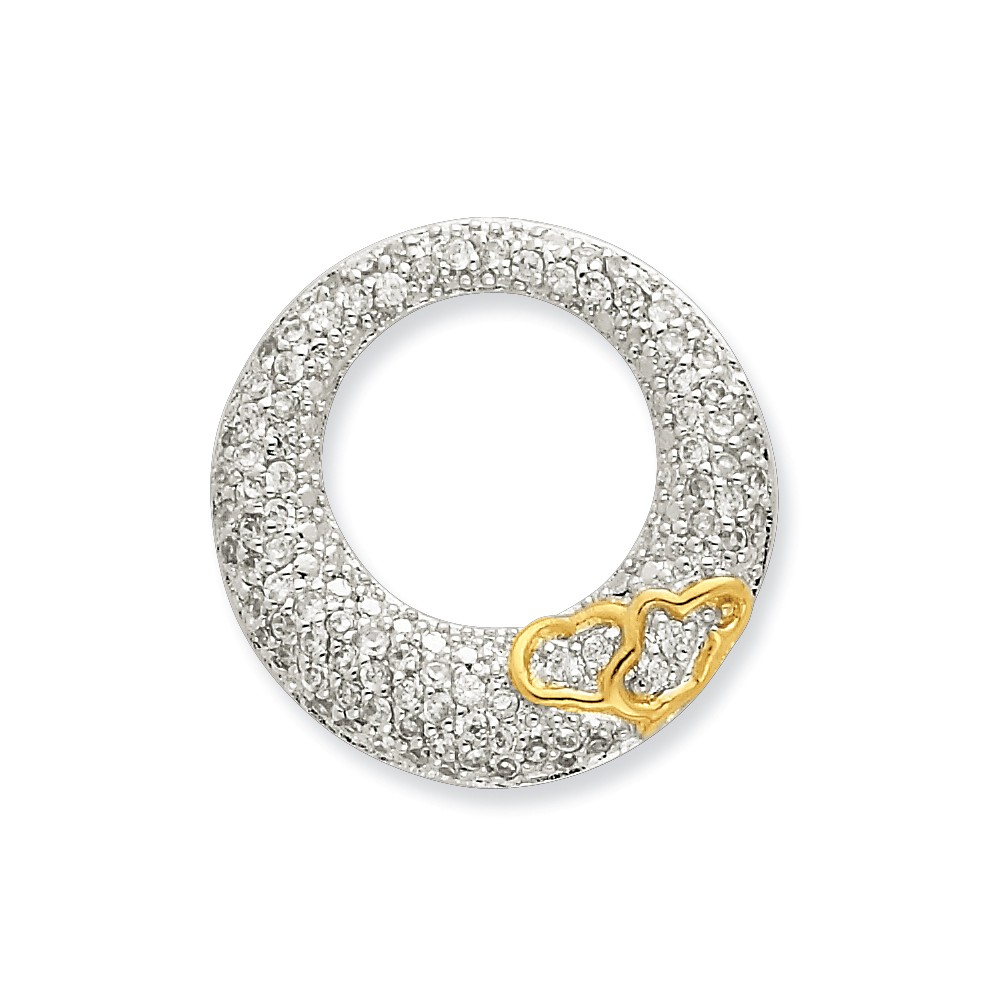 Sterling Silver CZ Open Circle with Gold-Plated Hearts Slide Pendant.