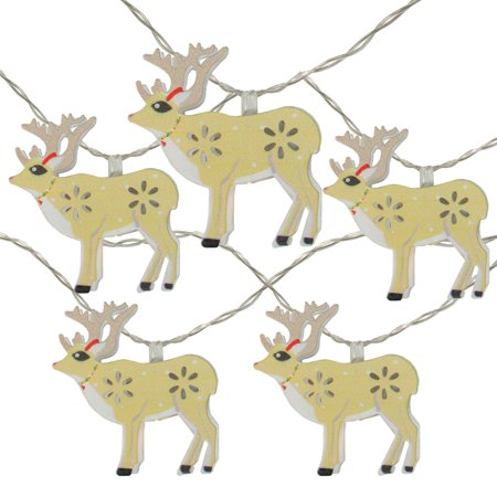 10 Battery Operated Reindeer LED Christmas Lights – 4.5 ft Clear Wire ()