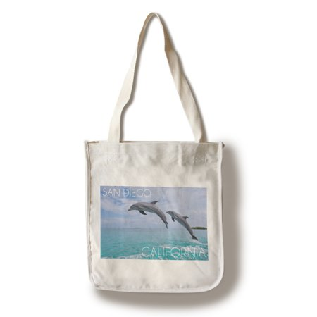 - San Diego, California - Jumping Dolphins - Lantern Press Photography (100% Cotton Tote Bag - Reusable)