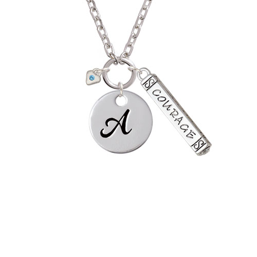 Mini Hot Blue Birthday Crystal Heart - A - Script Initial Disc Courage Strength Wisdom Zoe Necklace