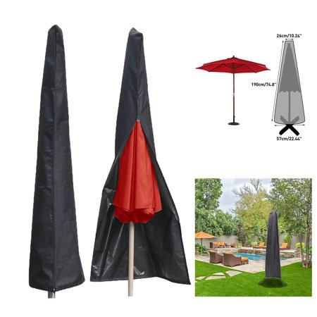 6a6ee785e1e9 Meigar Umbrella Covers Patio Waterproof Market Parasol Covers Protective  Canopy Cover Bag with Zipper Black Durable Fabric for 7ft to 11ft Outdoor  ...