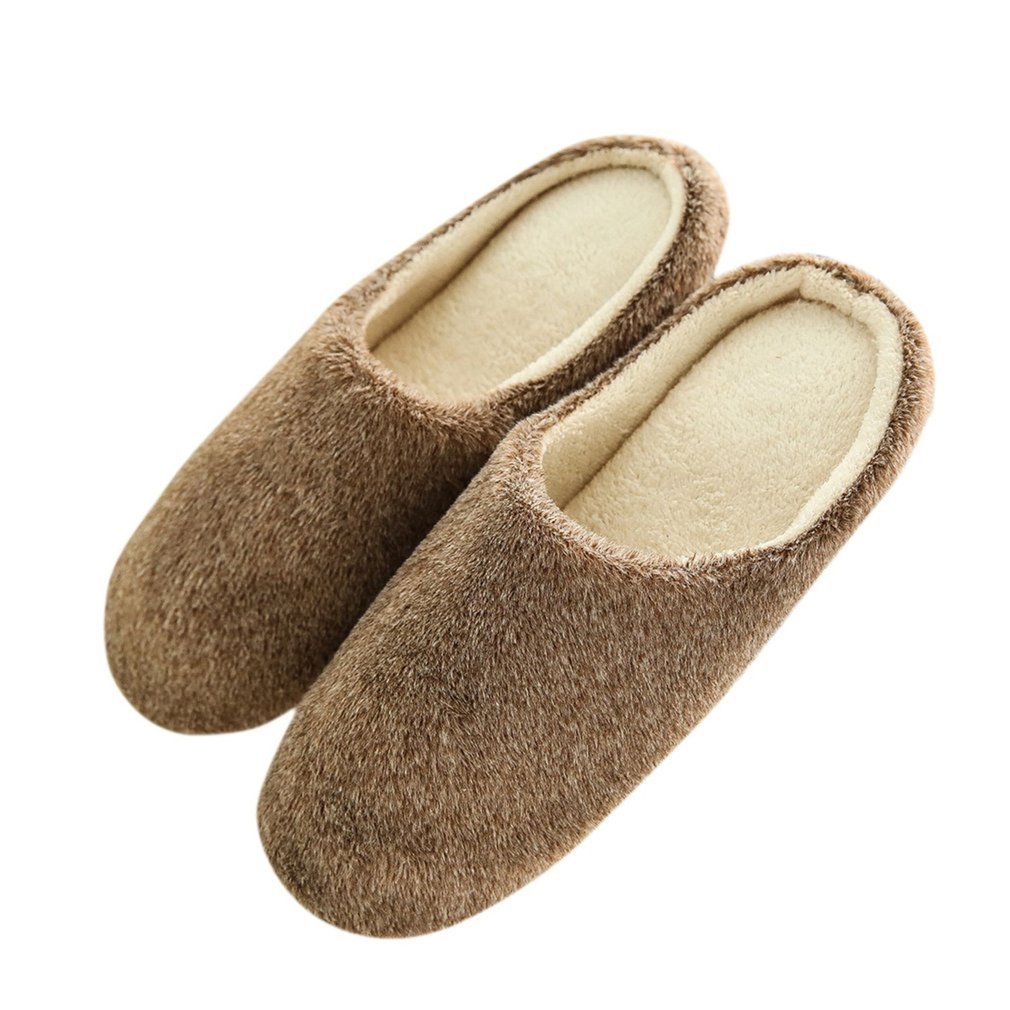Solid Color Anti-slip Home Floor Soft Slippers Shoes Fashion Indoor Slippers Winter Men Women Velvet Plush Warm Slippers