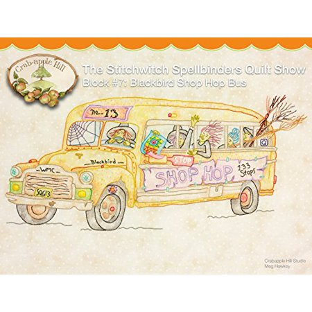 The Stitchwitch Spellbinders Quilt Show Embroidery Pattern by Meg Hawkey From Crabapple Hill Studio #2566 Block #7 Blackbird Shop Hop Bus Bead Embroidery Patterns