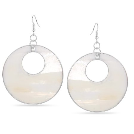 TAZZA WOMEN'S SILVER-TONE METAL WHITE MOTHER OF PEARL CIRCLE