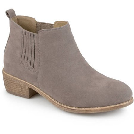 Brinley Co. Women's Stacked Heel Faux Suede Ankle Boots Ankle Boots Side Zipper
