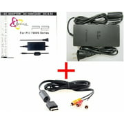 Video Game Accessories SLIM AC ADAPTER CHARGER POWER CORD SUPPLY FOR SONY PS2 + AUDIO VIDEO AV CABLE