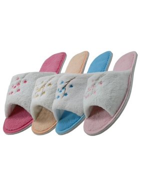 Women's Open Toe Plush with Embroidery House Slippers