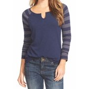 Caslon NEW Navy Blue Gray Women's Size XL Striped-Sleeve Knit Top $44
