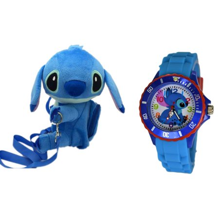 Disney Stitch Gift Set . Soft Plush Crossbody/Shoulder Mini Bag with Small Pocket + Stitch Watch For kids. H 9