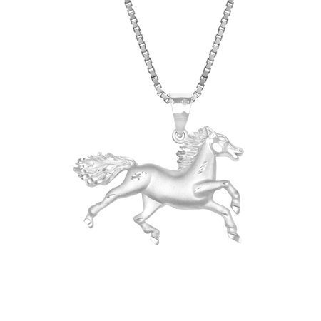 Sterling Silver Galloping Horse Necklace Pendant with 18