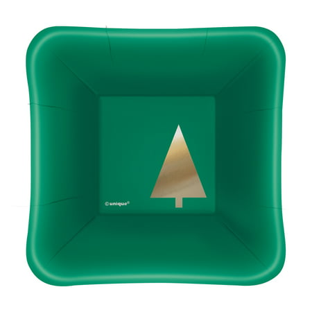 "5"" Foil Square Paper Appetizer Chic Christmas Plates, 8ct"