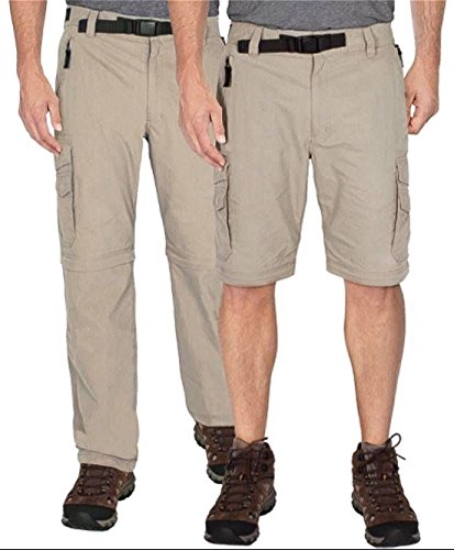 BC Clothing Mens Convertible Lightweight Comfort Stretch Cargo Pants Shorts (Charcoal Grey, XX Large x 30L)