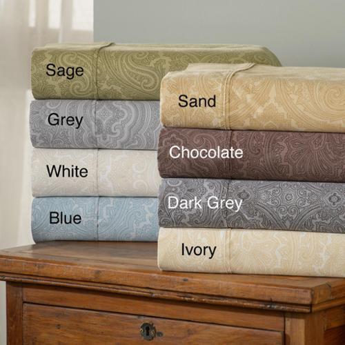 Simple Elegance Italian Paisley 600 Thread Count Cotton Blend Deep Pocket Sheet Set King - Chocolate