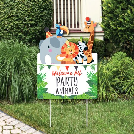 Jungle Party Animals - Party Decorations - Safari Zoo Animal Birthday Party or Baby Shower Welcome Yard Sign