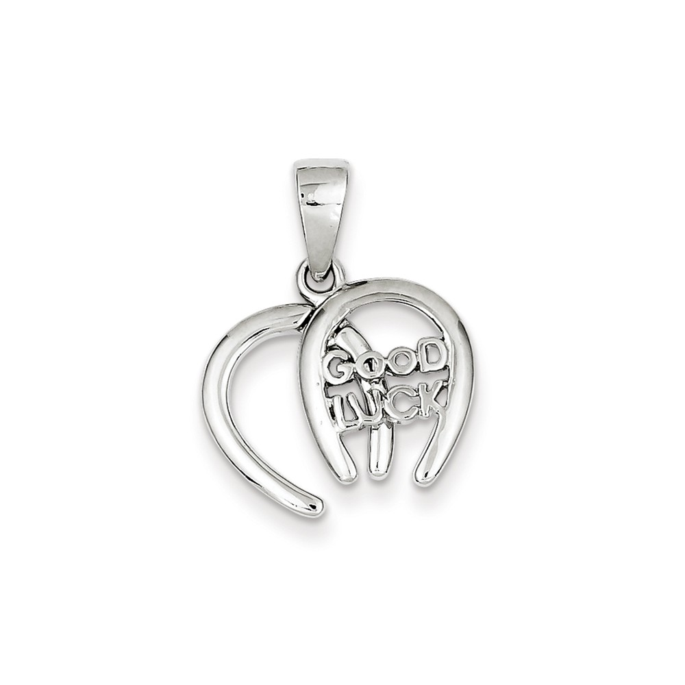 Sterling Silver Double Horseshoe Good Luck Charm (0.8in)