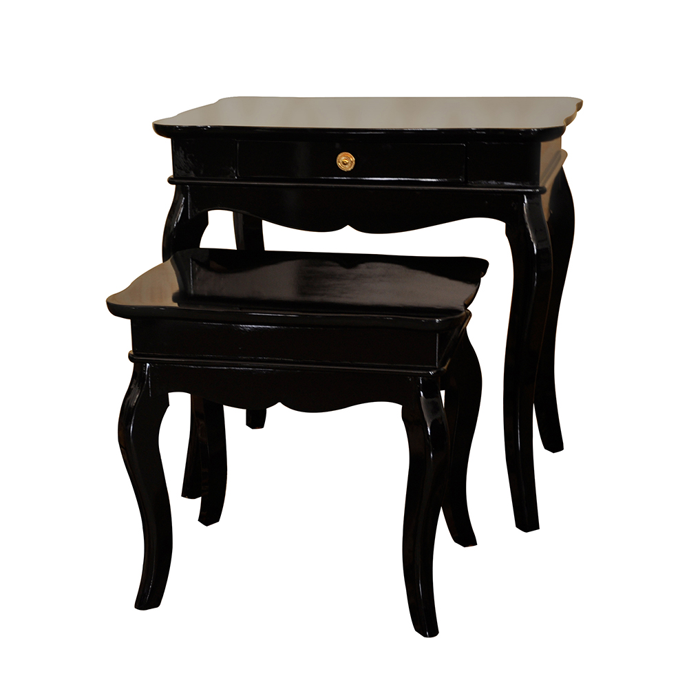 Set of 2 Conrad Glossy Black Finish Nesting Tables