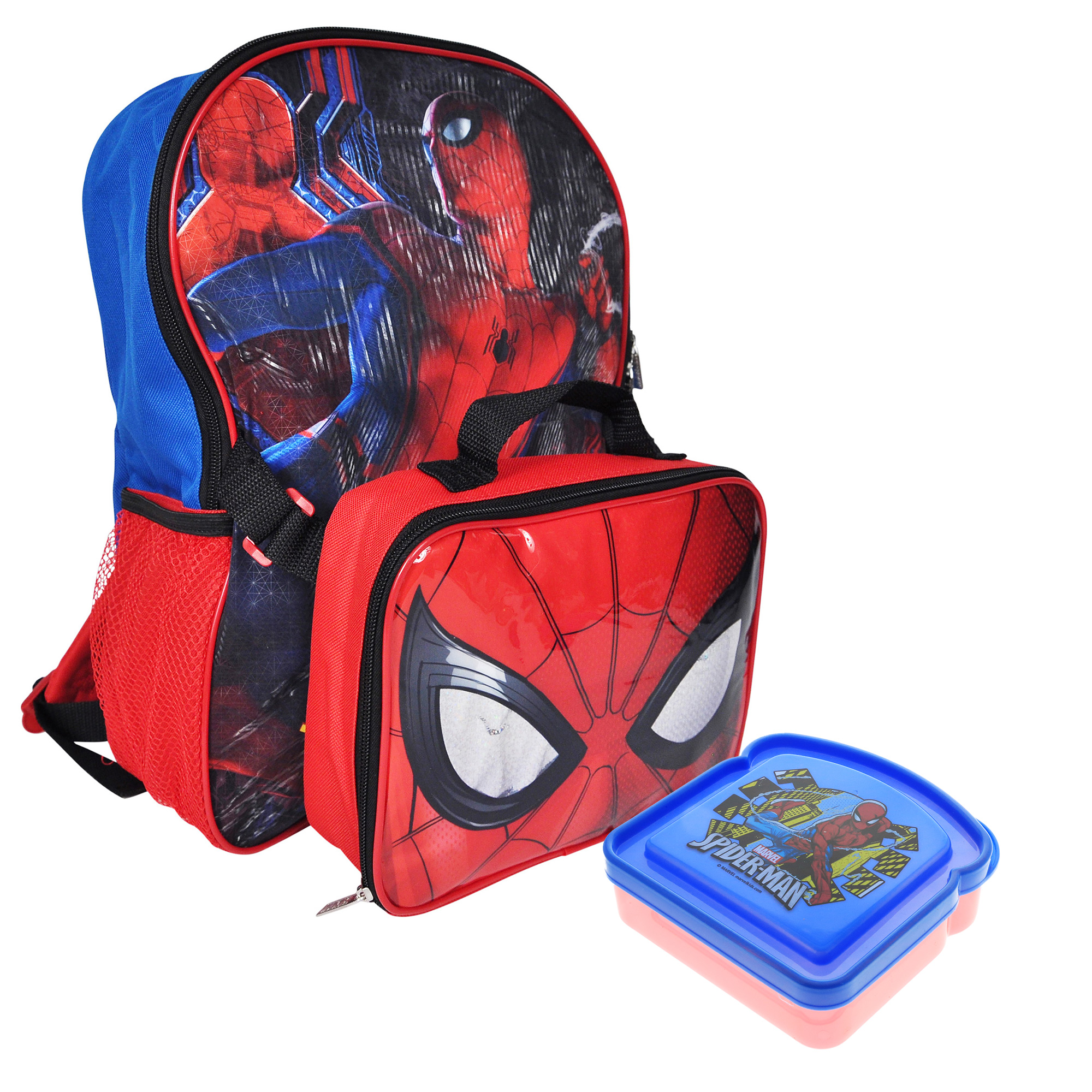 "Marvel Spiderman Kid Backpack Bookbag 17/"" x 13/"" x 5/"" with Reflective Strips"
