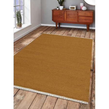 Rugsotic Carpets Hand Weave Kelim Woolen 8' x 10' Contemporary Area Rug Plum D00111-Color:Gold,Material:Kilim,Shape:Rectangle,Size:5' x 8' - Red Carpet For Sale