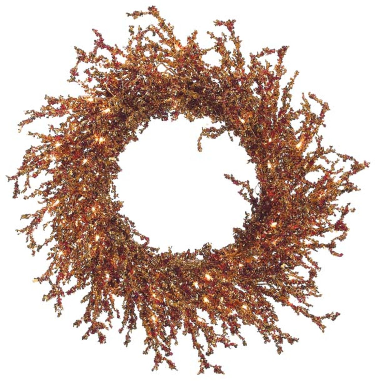 Copper and Burgundy Pre-Lit Berries and Ice Christmas Wreath