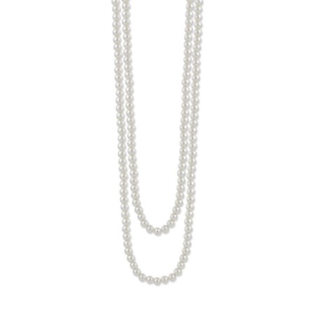 TAZZA WOMEN'S 10MM WHITE FAUX PEARL LONG NECKLACE - Pearl Cluster Necklace