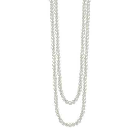 TAZZA WOMEN'S 10MM WHITE FAUX PEARL LONG NECKLACE - Pearl Long Chain Necklace