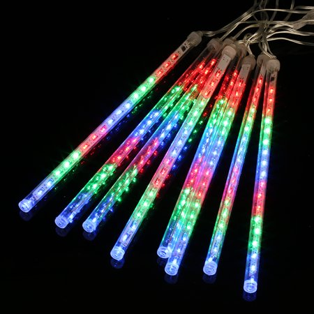 Finether 8 Tube 13.1 ft 144 LED Meteor Shower Rain Snowfall String Lights for Holiday Christmas Halloween Party Indoor Outdoor Decoration Commercial Use, Multi-Col