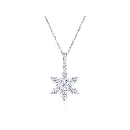 Rhodium Snowflake Pendant - BERRICLE Rhodium Plated Sterling Silver Cubic Zirconia CZ Snowflake Fashion Pendant Necklace 18