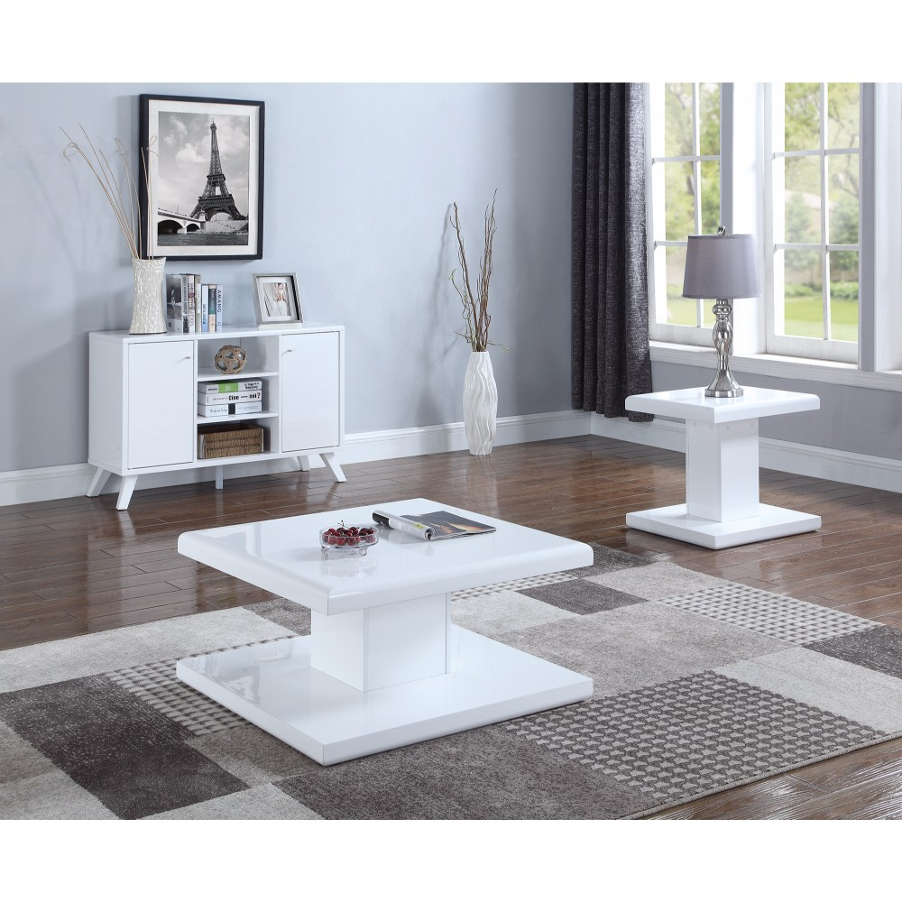 Chic Modern Sofa Table, White by Benzara