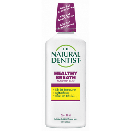 The Natural Dentist Healthy Breath Antiseptic Rinse, Cool Mint, 16.9 Oz Bottle