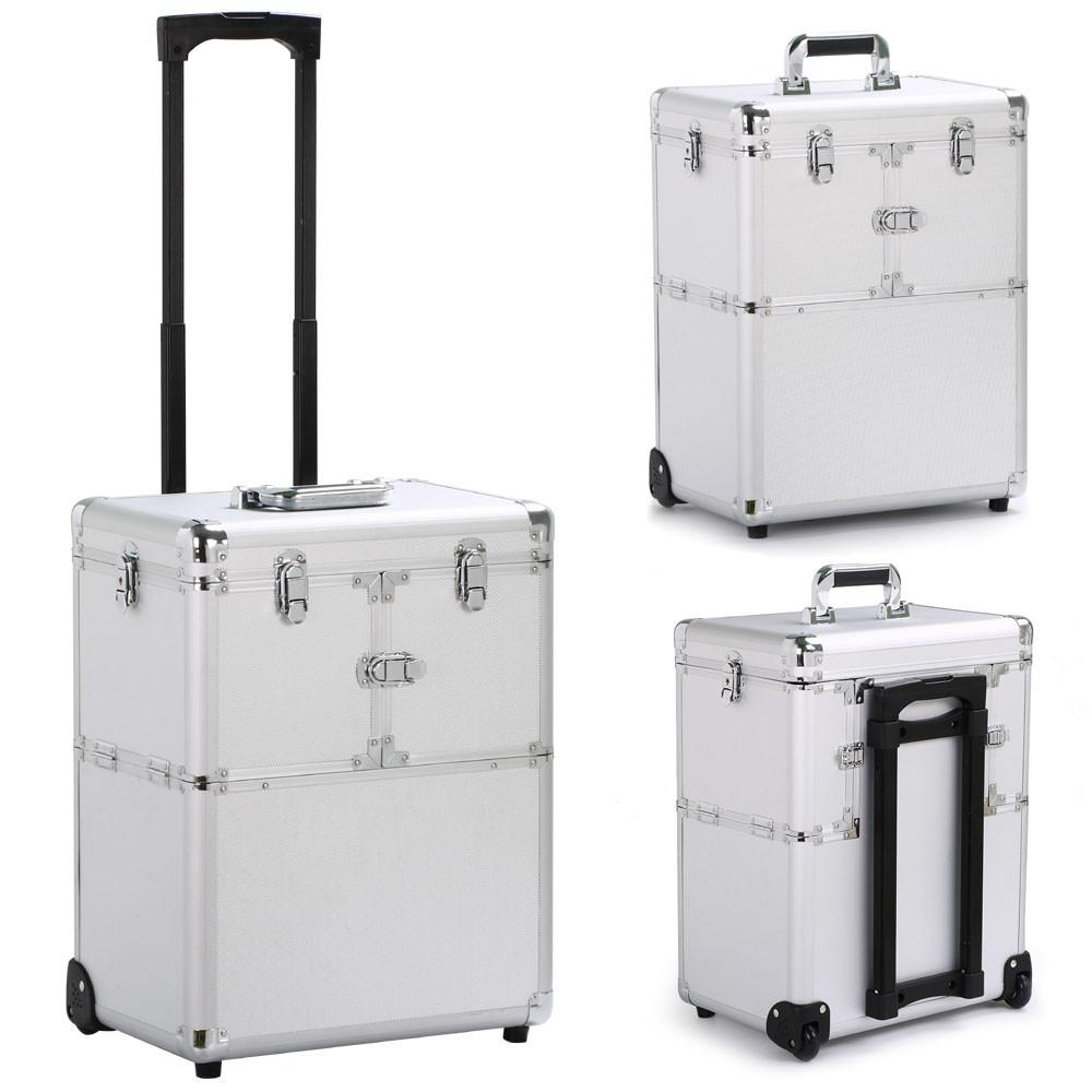 Topeakmart 19 Aluminum Trolley Makeup Case Rolling Beauty Cosmetic Lock Box w/ Hand Silver