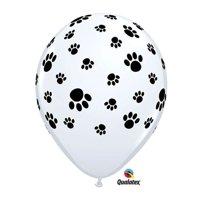 """Burton & Burton 11"""" Paw Prints On White Balloons, Pack Of 50"""