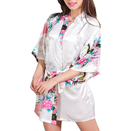 Womens Short Floral Silk Kimono Robes, Sizes 2 to 20, Bride and Bridesmaid Robes Set, Lightweight Robe (Cheap Bridesmaids Gifts)