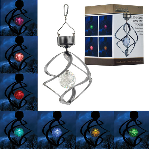 Mosaic Color LED Solar Powered Wind Spinner Light