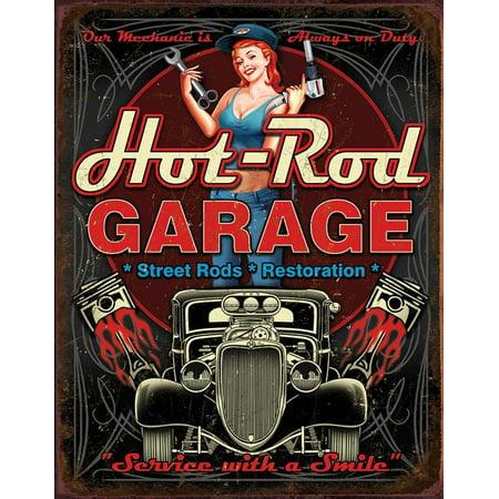 Hot Rod Garage - Pistons Tin Sign Tin Sign - - Hot Rods Pistons