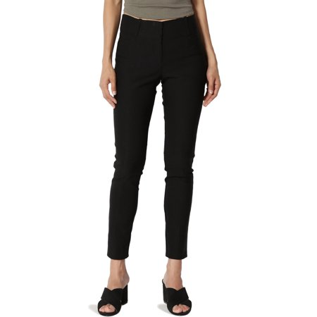 TheMogan Women's Millennium Stretch Ankle Crop Skinny Trouser Pants Work Or Play Black Stretch Cropped Pants
