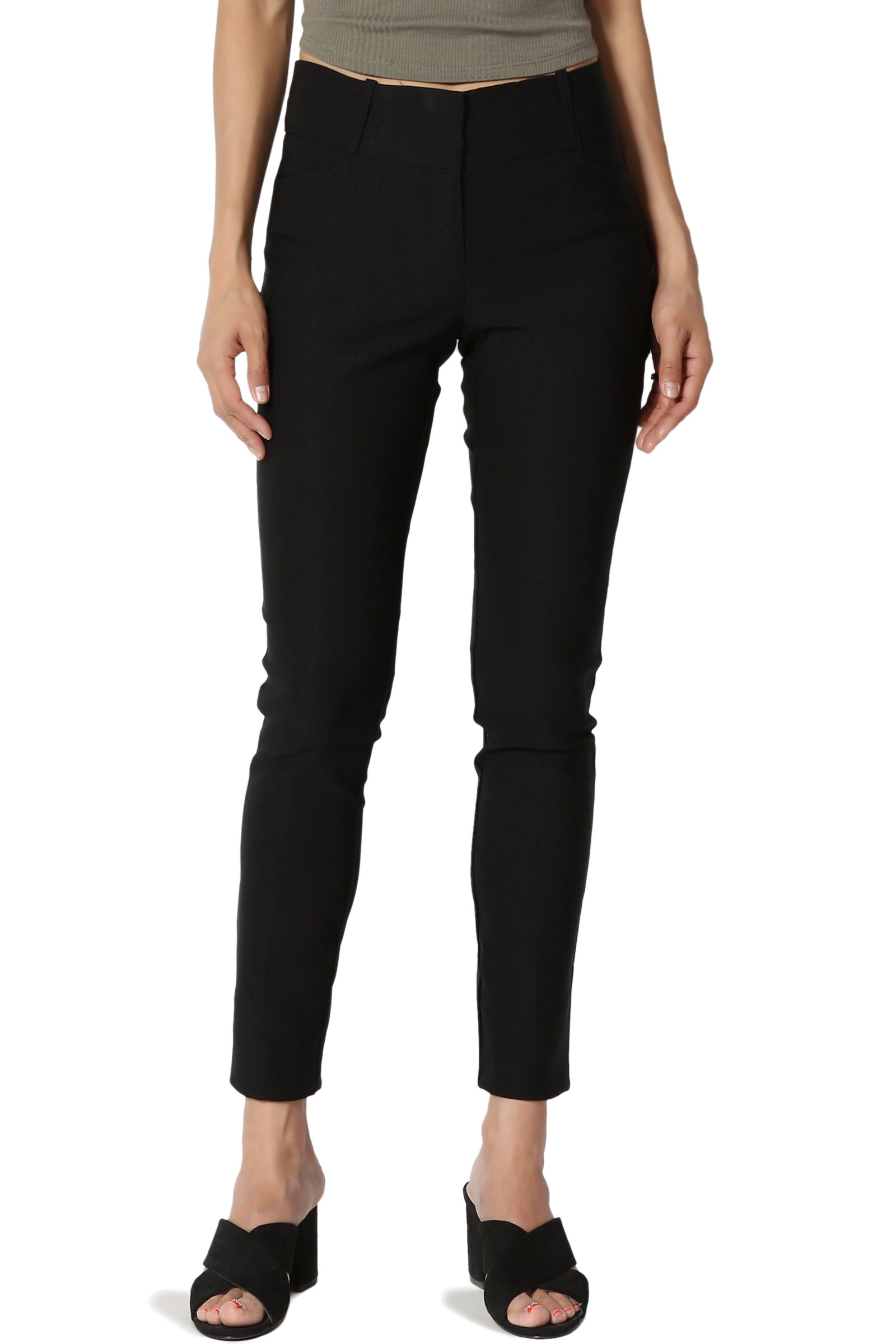 TheMogan Women's Millennium Stretch Ankle Crop Skinny Trouser Pants Work Or Play