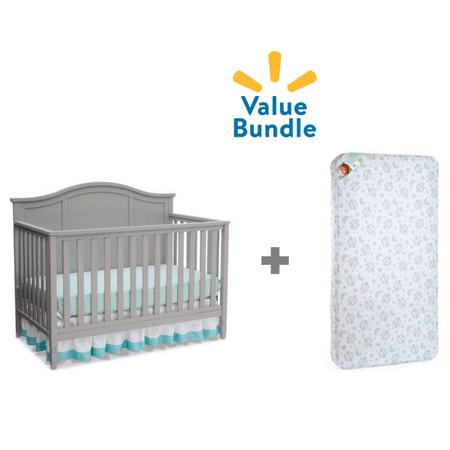 Delta Children Madrid 4-in-1 Convertible Crib + Kolcraft Mattress Value
